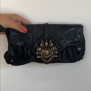 Juicy Couture Black and Gold Logo Wristlet/Clutch